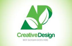 Logotipo do projeto de letra da folha do verde do AP Ícone Illus da letra da folha de Eco bio Foto de Stock Royalty Free
