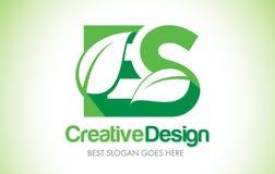 Logotipo do projeto de letra da folha do verde do ES Ícone Illus da letra da folha de Eco bio Foto de Stock