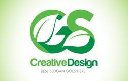 Logotipo do projeto de letra da folha do verde do GS Ícone Illus da letra da folha de Eco bio ilustração stock