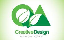 Logotipo do projeto de letra da folha do verde do QA Ícone Illus da letra da folha de Eco bio Imagens de Stock Royalty Free