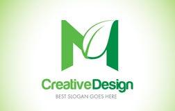 Logotipo do projeto de M Green Leaf Letter Ícone Illust da letra da folha de Eco bio Fotos de Stock