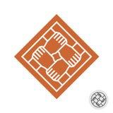 Logotipo do quadrado dos trabalhos de equipa de quatro mãos dos povos imagem de stock