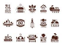 Logotipo do restaurante As etiquetas do vintage da fabricação do alimento para a casa de cozimento saudável fresca do eco da cozi ilustração do vetor