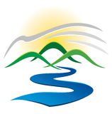 Logotipo do rio da montanha Foto de Stock