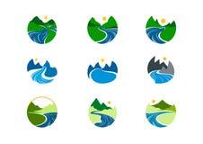 Logotipo do rio, projeto do símbolo da montanha da natureza