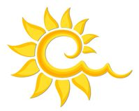 Logotipo do sol brilhante Imagens de Stock Royalty Free