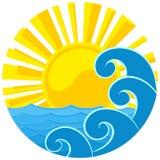 Logotipo do sol e do mar Foto de Stock