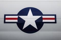 Logotipo do U.S.A.F. da força aérea de E.U. em aviões imagens de stock