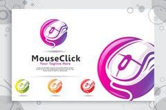 Logotipo do vetor do clique do rato com conceito moderno e colorido do estilo, ilustra??o criativa do rato como um s?mbolo do har imagem de stock