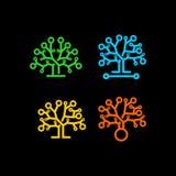 Logotipo do vetor da árvore de Techno Fotos de Stock