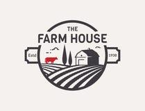 Logotipo do vetor da casa da exploração agrícola ilustração royalty free