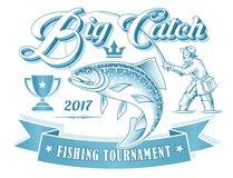 Logotipo do vetor do competiam da pesca Fotos de Stock