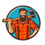 Logotipo do vetor do lenhador lenhador, ícone do carpinteiro Imagens de Stock Royalty Free