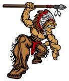 Logotipo do vetor dos desenhos animados da mascote do chefe indiano Imagens de Stock