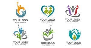 Logotipo do vetor dos povos ilustração stock