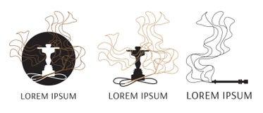 Logotipo do vetor para o cachimbo de água, com a imagem do fumo ilustração do vetor