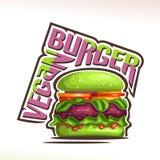 Logotipo do vetor para o hamburguer do vegetariano Fotos de Stock Royalty Free
