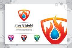 logotipo do vetor do protetor do fogo 3d com conceito moderno como um símbolo do petróleo e gás, ilustração do petróleo e gás com imagens de stock royalty free