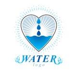 Logotipo do vetor do tema do frescor do oceano Propaganda de limpeza da ?gua ilustração royalty free