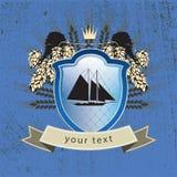 Logotipo do vintage do navio no protetor Imagens de Stock Royalty Free
