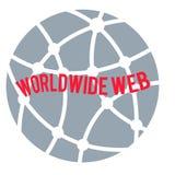 Logotipo do world wide web, fraseio vermelho no fundo cinzento do globo circular ilustração royalty free