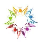 Logotipo dos anjos dos trabalhos de equipa Imagem de Stock Royalty Free