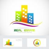 Logotipo dos arranha-céus das construções dos bens imobiliários Imagem de Stock