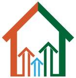 Logotipo dos bens imobiliários com projeto da seta Fotografia de Stock Royalty Free