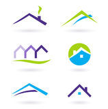 Logotipo dos bens imobiliários e vetor dos ícones - roxo ilustração royalty free