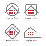 Logotipo dos bens imobiliários - vermelho e cinza Fotografia de Stock