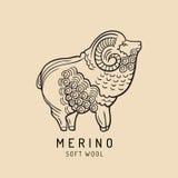 Logotipo dos carneiros de Merino, etiqueta Ilustração da ram do vetor Sinal macio de lãs da ovelha Fundo do ícone do velo ilustração stock