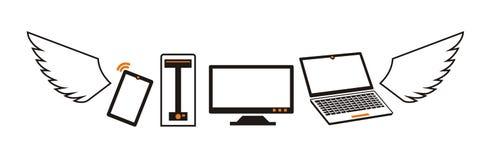 Logotipo dos computadores e dos dispositivos do voo dentro Imagens de Stock Royalty Free