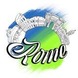 Logotipo dos marcos da skyline de Roma Imagem de Stock Royalty Free