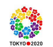 Logotipo 2020 dos Olympics do Tóquio Fotografia de Stock Royalty Free
