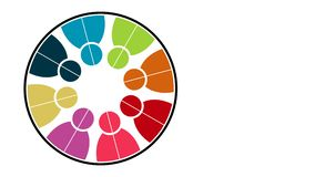 Logotipo dos povos Símbolo dos trabalhos de equipe do grupo de oito pessoas em um círculo gráfico do movimento da definição 4K