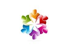 Logotipo dos trabalhos de equipa ilustração royalty free