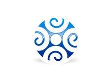 Logotipo dos trabalhos de equipa da conexão dos povos ilustração royalty free