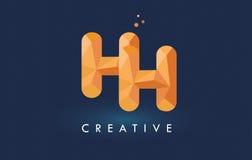 Logotipo dos triângulos de HH Letter With Origami Alaranjado amarelo criativo ou Fotografia de Stock