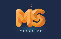 Logotipo dos triângulos do MS Letter With Origami Alaranjado amarelo criativo ou Foto de Stock Royalty Free