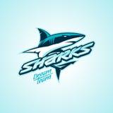 Logotipo dos tubarões para um clube ou uma equipe de esporte imagem de stock