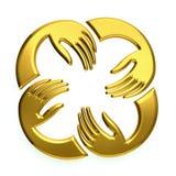 Logotipo dourado das mãos dos trabalhos de equipa Imagens de Stock