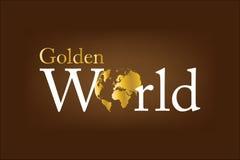 Logotipo dourado do mundo Fotografia de Stock
