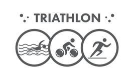 Logotipo e ícone do Triathlon Natação, ciclismo, símbolos running Imagem de Stock