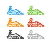Logotipo e símbolo karting lisos do vetor Imagem de Stock
