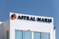 Logotipo e sinal do hotel astral de Maris em Eilat fotos de stock royalty free