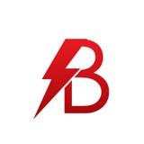 Logotipo eléctrico de la letra B del perno rojo del vector Foto de archivo