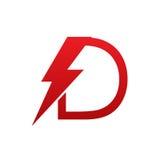 Logotipo eléctrico de la letra D del perno rojo del vector imágenes de archivo libres de regalías