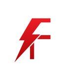 Logotipo eléctrico de la letra F del perno rojo del vector Foto de archivo libre de regalías
