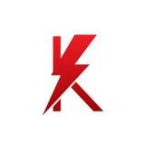 Logotipo eléctrico de la letra K del perno rojo del vector Imagen de archivo libre de regalías
