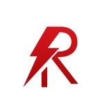 Logotipo eléctrico de la letra R del perno rojo del vector Imagen de archivo libre de regalías